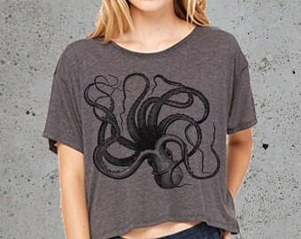 Octopus T Shirt Crop Top__()~Octopus Tee Nautical T-shirt Beach Clothes Ocean Women's Graphic tee