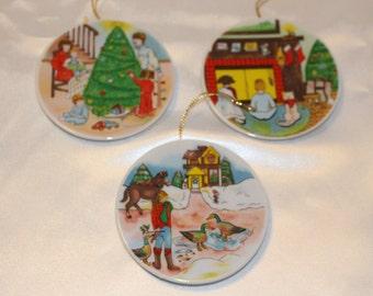 Set of 3 Porcelain Mini Plates by Lilian Vernon 1989 in the Original Box