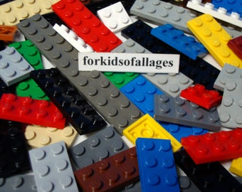40 Lego 2-Stud Wide Flat Plates - Assorted lengths and colors - Bulk Lego Lot