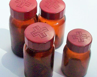 Brown Apothecary Bottles from Merck / Red Lids Assorted Sizes / Empty and Clean