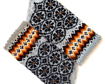 Gray Black Hand Knitted Mittens Wool Mittens Gray Black Gloves Wool Gloves Winter Gloves Warm Mittens Patterned Mittens Latvian Mittens