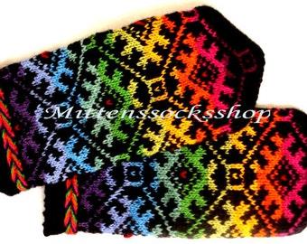 Hand Knit Rainbow Mittens Hand Knit Rainbow Gloves Wool Mittens Wool Gloves Warm Women's Mittens Winter Gloves Latvian Mittens with Pattern