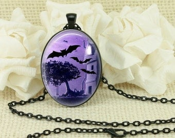 Halloween Gothic Bats Oval Necklace V129