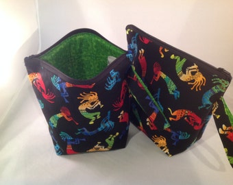 Knitting Project Bag with zipper Kokopelli on Black