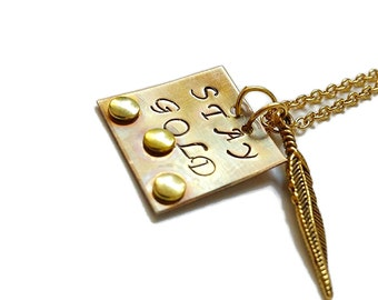 Stay Gold necklace, Stay Gold jewelry, The Outsiders, handstamped necklace, gold necklace, gold feather, Stay Gold Ponyboy, stay gold