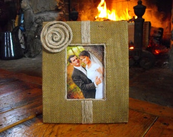 Burlap Wedding Frame 5x7 landscape or portrait