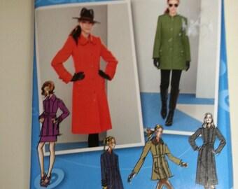 Winter coat women / Winter Jacket / button down collar pockets / 2011 sewing Pattern, Size 4 6 8 10 12, Bust 29 30 31 32 34, Simplicity 2057