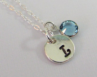 Birthstone Initial Necklace, Personalized Necklace, Hand Stamped, 925 Sterling Silver, Custom Birthstone Jewelry, Swarovski Charm Necklace
