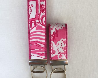 Lilly Pulitzer Key Fob - Hotty Pink Skinny Dippin' - 2 Sizes