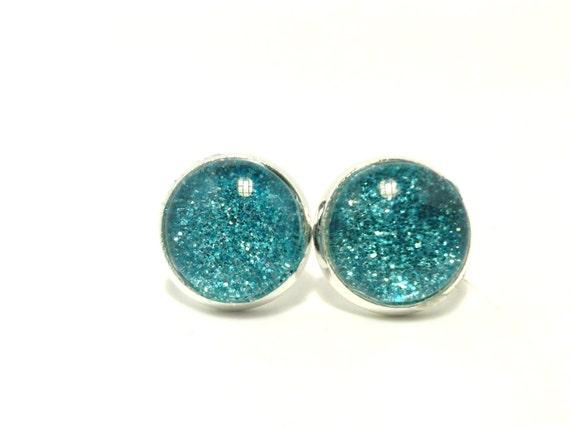 sale blue glitter earrings blue earrings for by