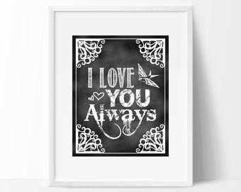 "Chalkboard Nursery Print - 8"" x 10"" Nursery Print - I Love You Always - Chalkboard Print - DIY Digital Download"
