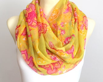 Silk Infinity Scarf in Yellow - Floral Chiffon Silk Scarf - Women Fashion Accessories - Gift Idea for Her - Spring Summer Autumn Trends
