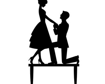 Bride and Groom Cake Topper - Proposal Wedding Cake Topper Silhouette