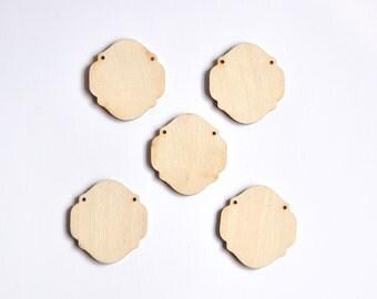 A set of 5 Wooden Pendants. Wooden Shapes. Unfinished Wood Pendant. Laser Cut Unfinished Wood Ornament AUSK009