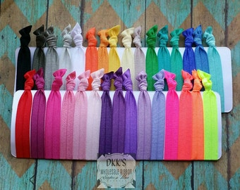 100 Wholesale Hair Ties- Going Out Of Business- Your Pick Your Colors- No Crease Hair Ties