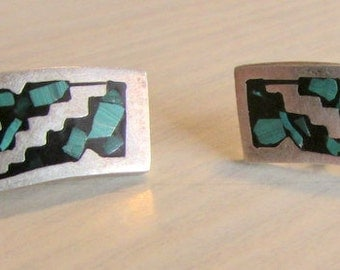 Sterling Silver and Turquoise Inlay Post Earrings