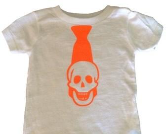 Boy's Halloween Shirt or Onesie, Skeleton Tie, Graphic Tee or Onesie