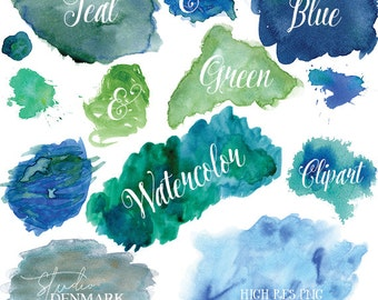 Blue & Green Watercolor Clipart - Teal Watercolor Clip Art - PNG Watercolor Shapes / Splatters / Blobs / Textures Instant Download