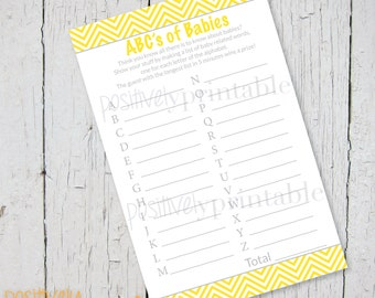 "ABC's of Babies Yellow Chevron and Gray Baby Shower Game - Printable 4 1/4"" x 8 1/2"""