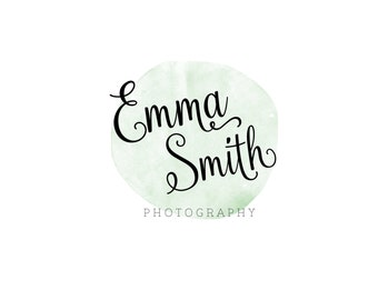 Mint Watercolor Photography Branding  Simple Photographer Watermark  Pre made logo watercolor  Small business logo design  Make up logo