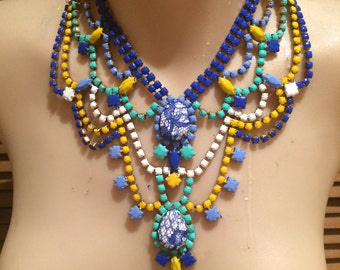 BEACHSIDE blue, turquoise, white and yellow painted rhinestone necklace