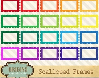 Scalloped Frames - Rainbow Colors Rectangles 4 inch Printable PNG and Vector Clipart Set