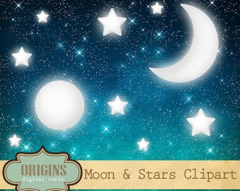 Celestial Clipart - Moon and Stars Clip Art for Commercial Use, Night Sky digital paper, Scrapbook Embellishments, Digital Instant Download