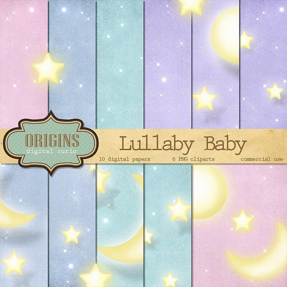 Lullaby Baby Moon and Stars Digital Paper by ...