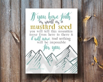 If You Have Faith - Mustard Seed Print - Verse Print - Typography - Instant Download
