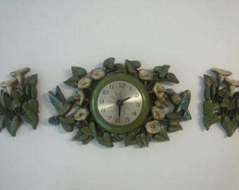Vintage 3 Piece Hummingbird Burwood Clock