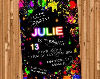 Neon Printable Birthday Invitation