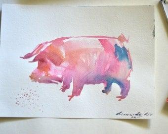 Pig Painting, Pig Art, Pig Wall Art, Pig Watercolor, Animal Watercolor, Animal Painting, Animal Art, Custom Watercolor, Watercolor Wall Art