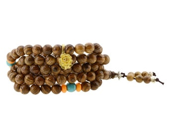 8mm Contrast Grained Wood 108 Prayer Beads Mala Wrap Bracelet Necklace with a Charm