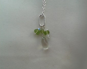 Sterling silver necklace with Genuine Green amethyst droplet and Peridot and Swarovski rondelles