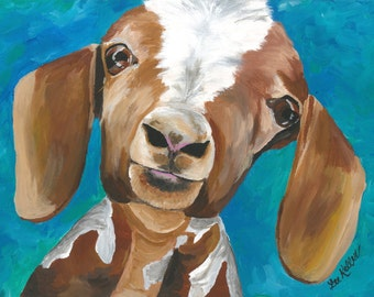 Goat art print from original canvas goat painting