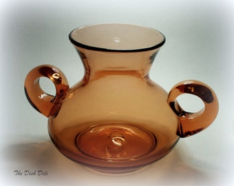 Hand Blown Glass Urn Vase Amber Orange Peach Mid Century Vintage
