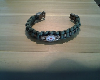 Army  Veteran Paracord Medical Alert Bracelet, Olive Drab And Cammo Color, ICD, Diabetic, Blood Thinner,Heart Problems. Free Shipping