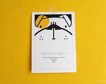 Customizable bulldog birthday party invitation, writable file .doc, children invitation DIY, digital file instant download