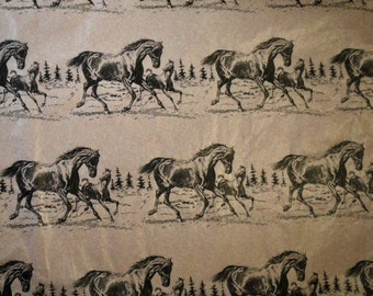 "Horse Tissue Paper # 211  / Gift Wrap Paper .... 10 Large Sheets . 20"" x 30"" .. Western, Equestrian, English, Cowboy"