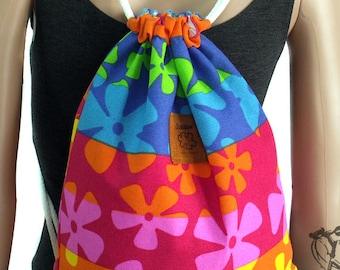 Flora drawstring bag Canvas Cotton  Backpack Hip bag Laptop bag Handmade bag