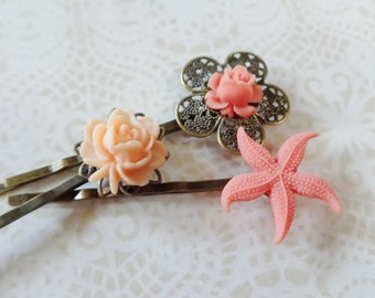 Peach Rose And Flower And Starfish Hair Clips