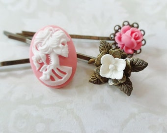 Set of 3 Petal Pink And White Rose And She Skull Hair Clips