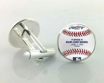 Baseball cufflinks, player, ball, sport, athlete, game