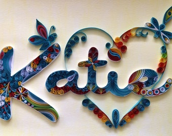 Custom Name Heart Wall Hanging: Quilling, Girl, Bedroom Decor, Wall Art