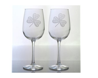 Celtic Shamrock Etched Wine Glasses - Set of 2 - Free Personalization