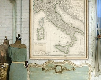 "Map of Italy 1866, Vintage Italy map poster up to 36x45"" (90x110 cm) Big old map of unified Italy, also in blue - Limited Edition of 100"