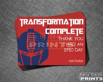 Optimus Prime Transformers Thank You Cards - Autobots - Bumblebee