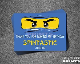 Ninjago Birthday Thank You Cards - Lego Blue Ninja Jay