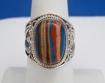 Vintage Estate Sterling Silver & Rainbow Calsilica Ring - Size 6
