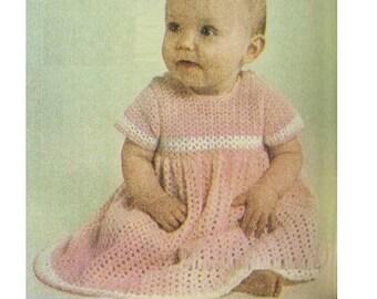 Crochet Baby Dress Pattern Vintage 70s Baby Girl Dress Pattern Instant Download